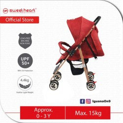 Sweet Heart Paris ST250 Compact Size Stroller with 8 EVA Wheels (Red)