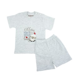 Trendyvalley Organic Cotton Short Sleeve Baby Shirt and Pants (Little Lamb Grey)