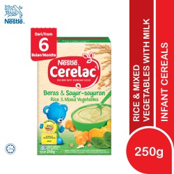 Nestle Cerelac Infant Cereals Rice & Mixed Vegetables 6M+ (250g) (Exp Date : 22/01/2022)