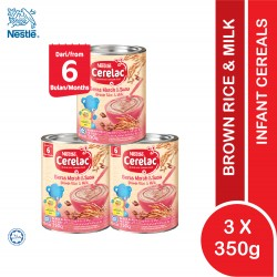 NESTLE CERELAC BROWN RICE & MILK 6M+ (3 x 350G) [EXPIRY DATE : 25/11/2021]