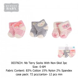 Hudson Baby NB Terry Socks with Non-Skid (3's/Pack) 00376CH