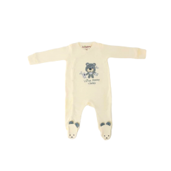 Trendyvalley Organic Cotton One Piece Suit Romper With Hands and Feet Covered (Bear)