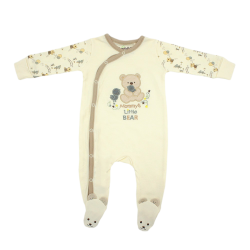 Trendyvalley Organic Cotton One Piece Suit Romper with Hands and Feet Covered (Brown Bear)