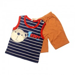 Pigeon Basic Boy Sleeveless Bermuda Pant Suit - Blue Stripe Teddy