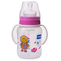 Japlo Deluxe 260Ml Feeding Bottle Pink (With Handle)- With 1 Silicone Nipple