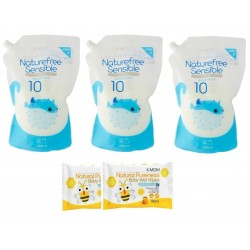 K-Mom Natural Baby Fabric Softener Refill 3 packs (1300ml)  + Free 10pcs wet tissue 2 packs