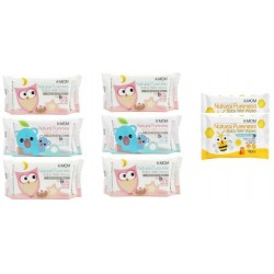 K-Mom Natural Pureness Baby Wet Wipes 6 Packs (100pcs) + Free 10pcs Wet Tissue 2 Packs