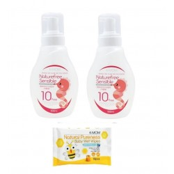 K-Mom Natural Pureness Feeding Bottle Cleanser 2pcs  500ml + Free 10pcs Wet Tissue 1 Packs