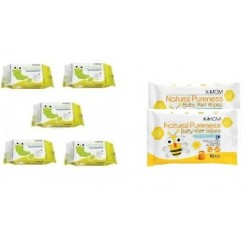 K-Mom Organic Baby Wipes 30s x 5 Packs + Free 10pcs Wet Tissue 2 Packs