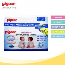 Pigeon Baby Wipes Moisturizing Cloths, 70's (2packs) 10819