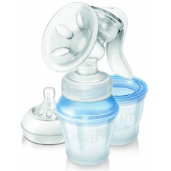 Philips Avent Natural Manual Breast Pump with Milk Storage Cups (SCF330/13)