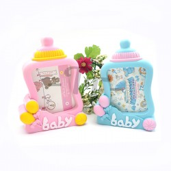 Toys Funtastic Home Decorative Milk Bottle Photos Frame With Clock - Blue