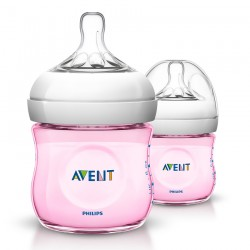 Philips Avent Natural Bottle (4oz / 125ml) Pink - Twin Pack