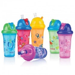 Nuby 1 Pk 9Oz/270ml Clear Printed Cup With Fat Flip It Straw Top With Silicone Ring  *Replacement straw/kits : NBXXFFSS,NB92103