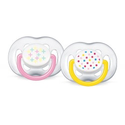 Philips Avent Contemporary Free Flow Soother 6-18M (Twin Pack) - Pink