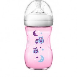 Philips Avent Natural Bottle (Pink) Decorated Bottle 9oz/260ml (Single Pack) - Owl Design