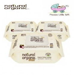 Natural Organic Baby Wipes - Premium Embossing Captype 80 Sheets (3 Packs)