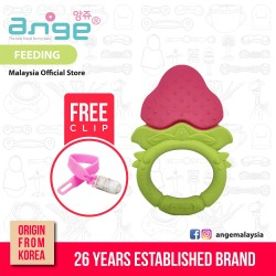 'Korea Ange Strawberry Teething Ring with Soft Sensory BPA Free Silicone and Clip'