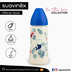 Suavinex In The Sea Collection BPA Free 360ml Wide Neck Baby Feeding Bottle with Anatomical Teat (Bl