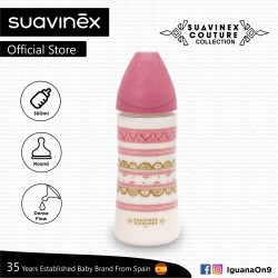 Suavinex Couture Collection BPA Free 360ml Wide Neck Baby Feeding Bottle with Round Teat (Pink)