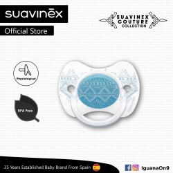 Suavinex Couture Collection BPA Free 0 - 4 Months Physiological Soother Pacifier (Light Blue)