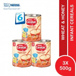 Nestle Cerelac Infant Cereal Wheat & Honey (6 Months+) 500g x 3 (Expiry Date 22/07/2022)