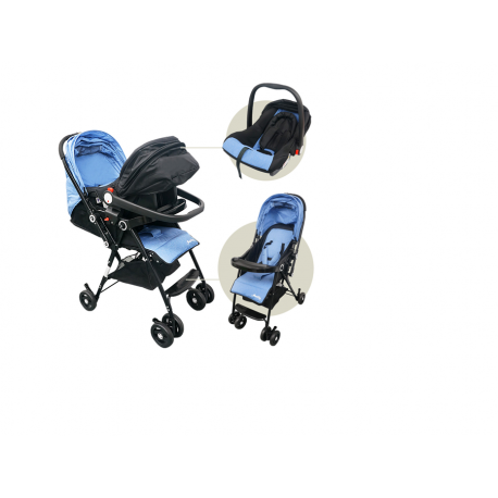 Anakku Travel System Stroller with Carrier (E500+E500CR Blue)