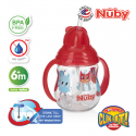 Nuby Designer Pinpoint 2 Handle Click-It Trainer Cup with Weighted Straw & Flip-It Thin Straw 240ml/8oz (Red)
