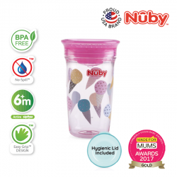 Nuby 1Pk 300ml/10oz Printed Tritan 360 Wonder Cup with PP Cover (Pink Ice Cream)