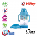 Nuby 1Pk 400ml Tritan Flip It with 3D Vinyl Wrap with Weighted Straw (Blue)