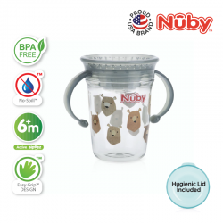 Nuby 360 Wonder Cup 1Pk 240ml/8oz Twin Handle Tritan Printed (Grey Bears)