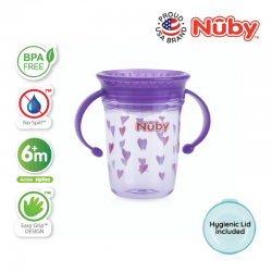 Nuby 360 Wonder Cup 1Pk 240ml/8oz Twin Handle Tritan Printed (Purple Hearts)