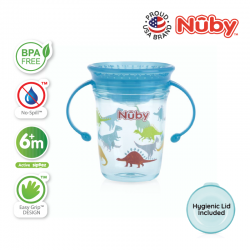 Nuby 360 Wonder Cup 1pk 240ml/8oz Twin Handle Tritan Printed (Blue Shark)