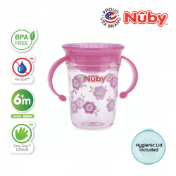 Nuby 360 Wonder Cup 1pk 240ml/8oz Twin Handle Tritan Printed (Pink Flowers)