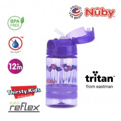 Nuby Flip-it ACTIVE (Tritan) Thin Straw Sports Bottle 360ml/12oz (Purple Flowers)