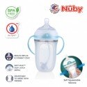 Nuby Comfort Silicone Bottle with Medium Flow Nipple and Weighted Straw, Pp Handles, And Pp Cover 250ml (Transparent)