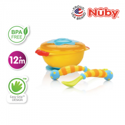 Nuby Wacky Ware Combo Set - PP Suction Bowl with Wacky Ware Fork & Spoon Set - Yellow Orange