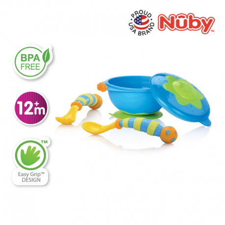 Nuby Wacky Ware Combo Set - PP Suction Bowl with Wacky Ware Fork & Spoon Set (Blue Green)