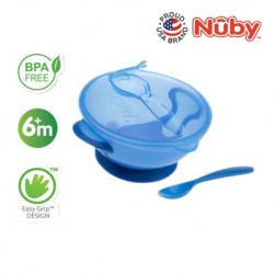 Nuby Garden Fresh Suction Bowl w/Spoon and Lid - Lid has Carved Out Place that Spoon Fits Inside (Blue)