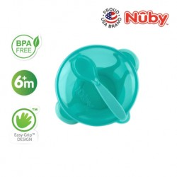 Nuby Garden Fresh Suction Bowl w/Spoon and Lid - Lid has Carved Out Place that Spoon Fits Inside (Aqua)