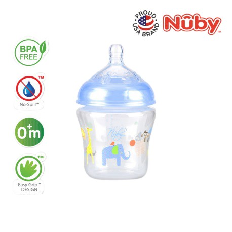 Nuby Natural Touch Printed Bottle With Silicone Nipple - 270ml/9oz (Single Pack) - Blue Kenya