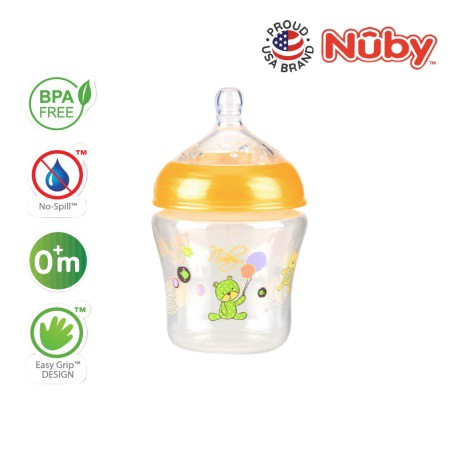 Nuby Natural Touch  Printed Bottle with Silicone Nipple -  270ml/9oz (Single Pack) - Yellow