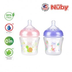 NubyNatural Touch Printed Bottle With Slow Flow Nipple 180ML/6OZ (Twinpack) (2pcs) - Pink , Purple