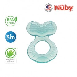 Nuby Comfort Silicone Fish Shaped Teether with Teething Bristles and Hygienic Case - Aqua