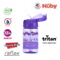 NUBY Printed and Tinted Style Thin Straw Sports Bottle 360ML - Purple