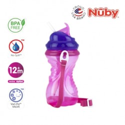 Nuby Flip-It with Thin Silicone Straw Cup with Carrying Strap (420ml/14oz) - Pink Purple