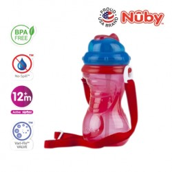 Nuby Flip-It with Thin Silicone Straw Cup with Carrying Strap (420ml/14oz) - Red Blue