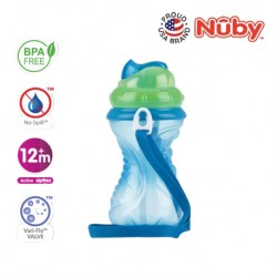 Nuby Flip-It with Thin Silicone Straw Cup with Carrying Strap (420ml/14oz) - Blue Green