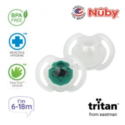 Nuby Little Gems Pacifier with Orthodontic Silicone Baglet With PP Hygienic Cover In PS Box 6M-18M (Dark Green, White)