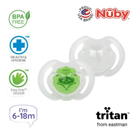 Nuby Little Gems Pacifier with Orthodontic Silicone Baglet With PP Hygienic Cover In PS Box 6M-18M (Light Green, White)